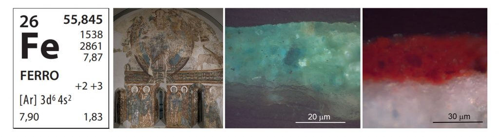 Stratigraphies of micro-samples of blue (aerinite) and red (haematites) of the polychromy in the apse from Sant Pere of La Seu d'Urgell that contain the element iron