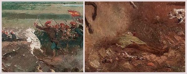Detall de figures inacabades de la Batalla de Tetuan, c. 1863-1865