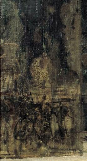 Detall de La matança dels Abenserraigs, amb un gerro esbossat a la paret, c. 1870