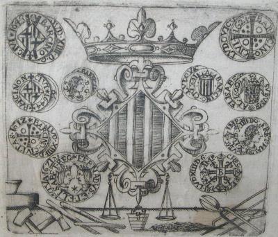 Ramon Olivet. Grabado con alegoría del Colegio de obreros y de monederos de la ceca real de Barcelona durante la Guerra de los Segadores, 1646, Centre Excursionista de Catalunya