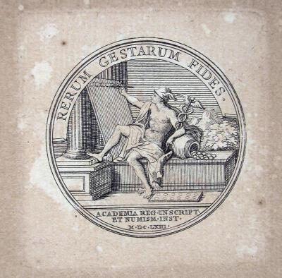 Gravat de medalla dedicat a l'Académie Royale des Médailles et des Inscriptions a Medailles sur les principaux evenements du regne de Louis le Grand, París, 1702