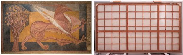 Grifo, anverso y reverso (dimensiones 191,5 x 325 x 5 cm). Fotografía: fotógrafos del Museu Nacional