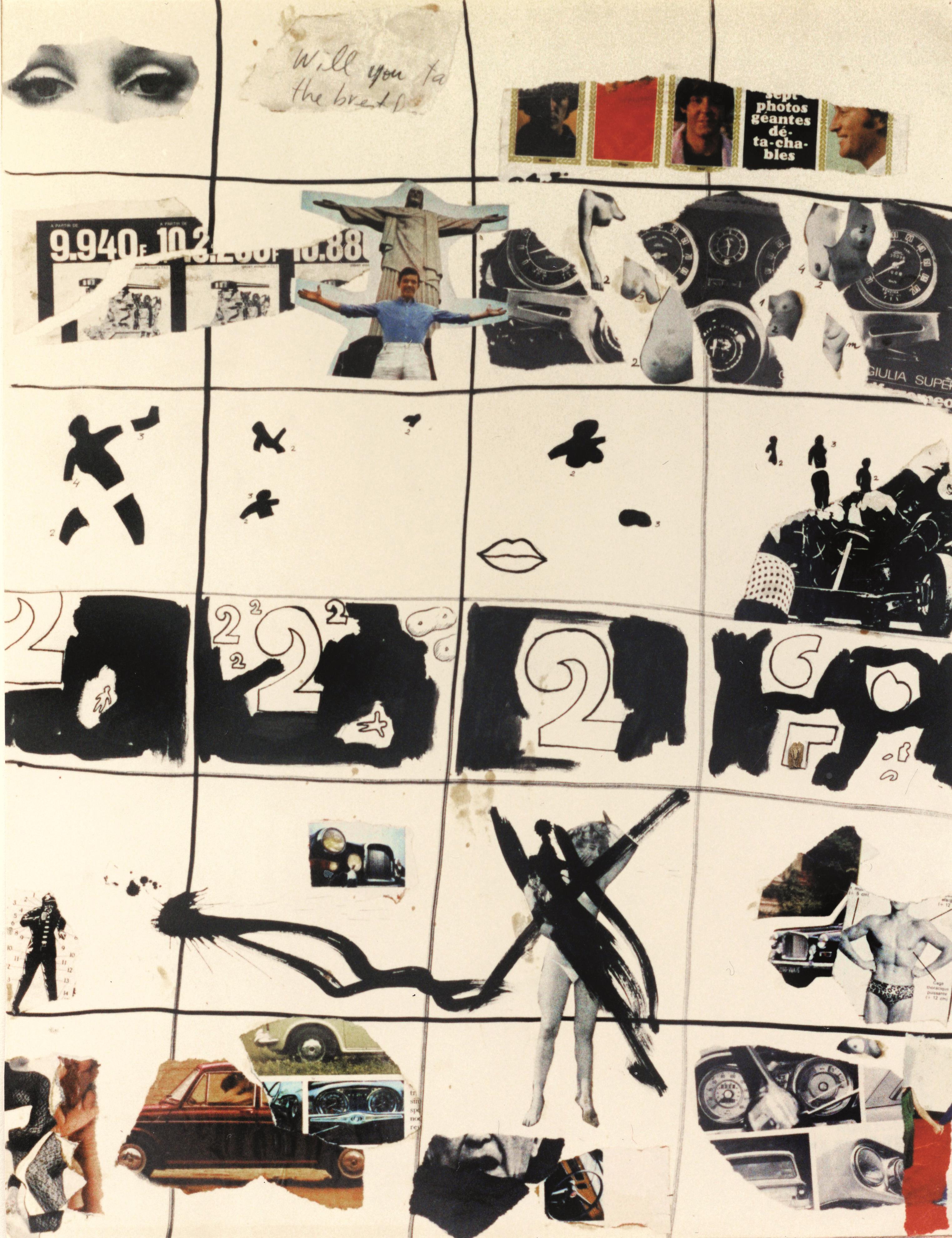 Guillem Ramos-Poquí. Collage de la quadrícula, amb números, cotxes i els Beatles, 1965. Col·lecció Guillem Ramos-Poquí