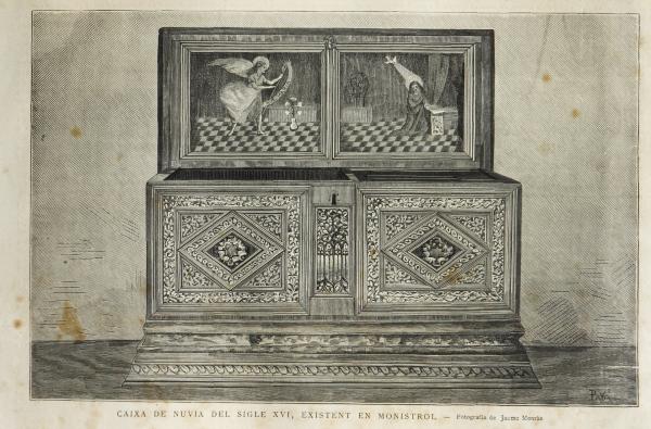 Caixa de núvia del segle XVI. La Il·lustració Catalana, 1881