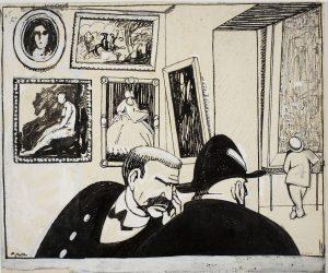 Feliu Elias, dit Apa, «Al museu d'art», 1912. Almanac de L'Esquella de la Torratxa, 1913, p. 102 (072318-D)