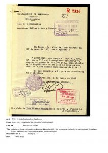 Document of the purchase of the Agell Collection, 27/5/1963. National Archive of Catalonia.