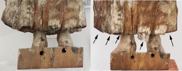 Imatge de l'obra abans i després de ser restaurada. S'observen les puntes d'encaix a sota la faldilla