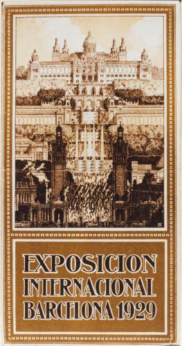 Imatge de la perspectiva principal de l'Exposició Internacional de Barcelona segons un fulletó de propaganda
