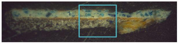General image of the micro-sample: cross-section 200x.