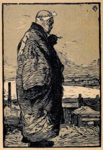 Yamamoto Kanae. Pescador (漁師 ryoushi, 1904). Xilografía Imagen extraída de Wikimedia Commons
