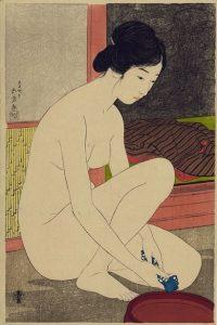 Hashiguchi Goyō. Mujer bañándose (浴場の女, Yokujō no on'na) (1915). Xilografía. Imagen extraída de Wikimedia Commons