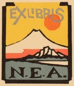 Exlibris de la Nippon Exlibris Association. Extraído de: http://art-exlibris.net/