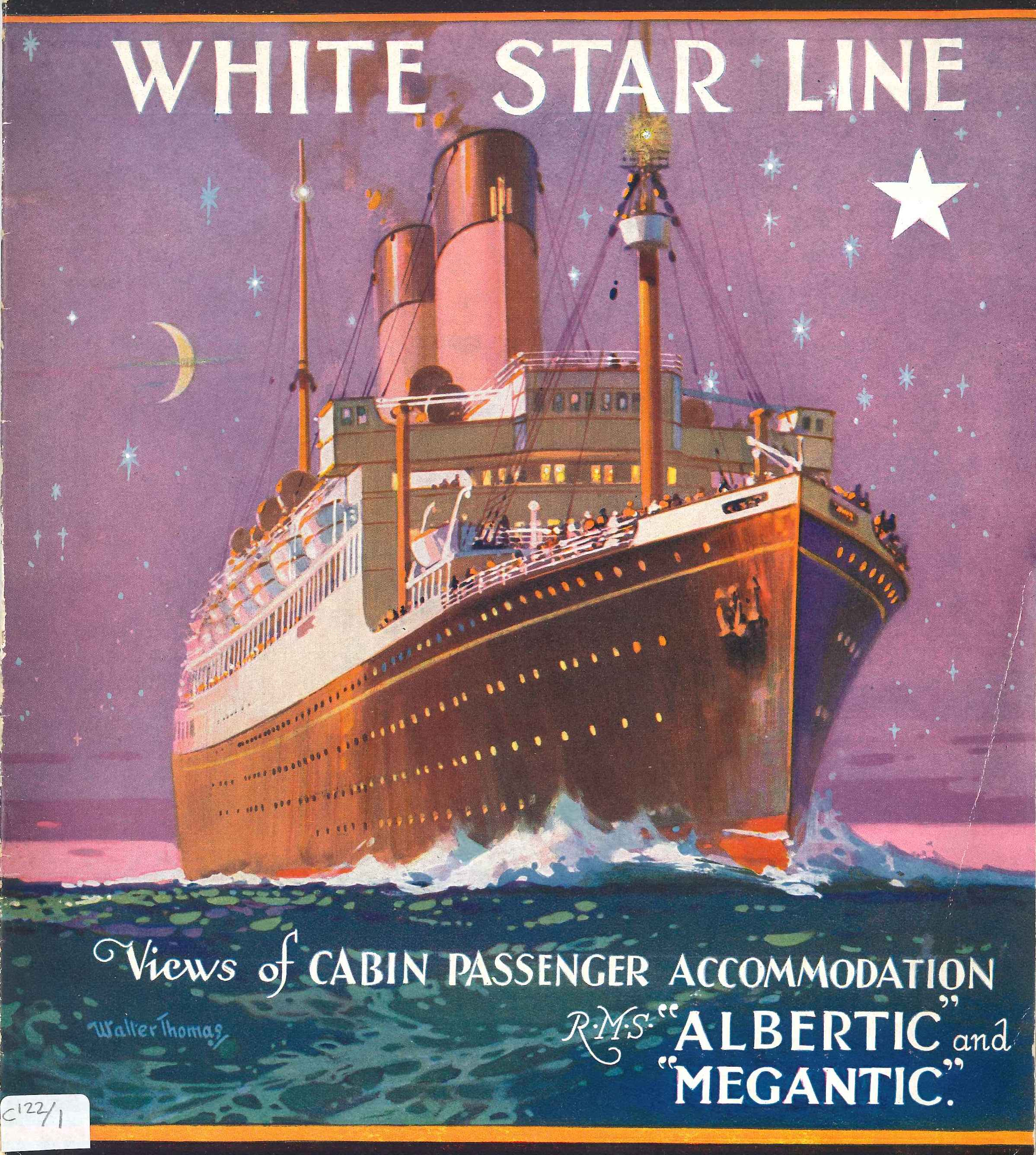 Cover of the brochure of the ships Albertic and Megantic