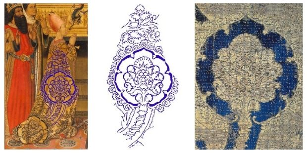 """(12) Images of the template of the drawing of the pomegranate flower in blue. Photo: Núria Prat i Grau. (13) Fragment of fabric. Silk and gold thread, velvet cut from just one piece, worked and ringed with gold on taffeta, 126 x 60.5 cm. Italy or Valencia, second half of the 15th century. Acquired with the Pascó Collection in 1914 (MTIB 28232). Photo: Núria Prat i Martín Ros, R.M., """"Fragment de teixit"""", La Barcelona gòtica, Barcelona, Museu d'Història de la Ciutat, 1999, p. 211-212 [catálogo de exposición]"""