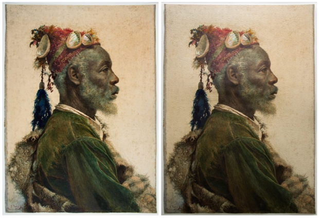 Imágenes del final de la intervención, con luz difusa (izquierda) y rasante (derecha).