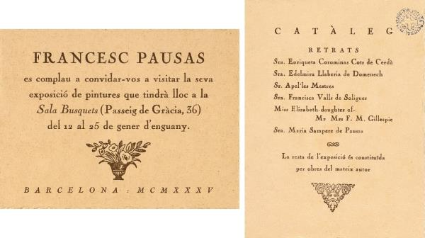 Invitation and catalogue of the exhibition at the Sala Busquets, 1935. Source: Library of Catalonia. Barcelona