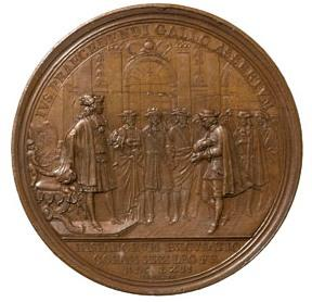 Jean Mauger, El embajador español reconoce el derecho de precedencia del rey de Francia (1662), bronce