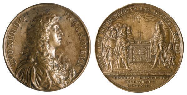 Jean Warin. Busto de Luis XIV en la medalla conmemorativa de la renovación de la alianza con la Confederación Helvética (1663), bronce