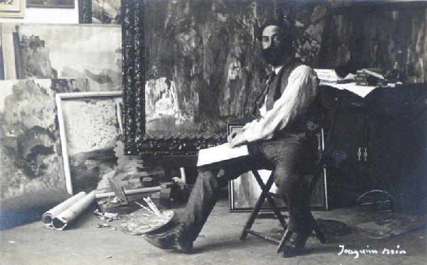 Joaquim Mir en su taller, fotografiado por Francisco Sierra, 1904.