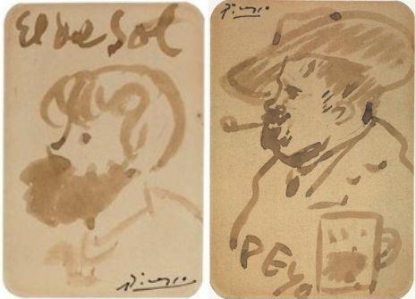 """Pablo Picasso. """"El del Sol"""". Retrat de Joaquim Mir, c.1903. Fundació Mascort, Torroella de Montgrí  Picasso. Pablo Picasso, Retrat de Pompeu Gener, Peyo, c.1903. Col·lecció particular"""