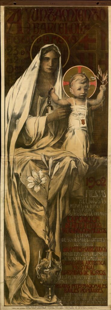 Josep Triadó. Cartell commemoratiu oficial de les Festes de la Mercè de l'any 1902. Arxiu Històric Ciutat de Barcelona (AHCB)