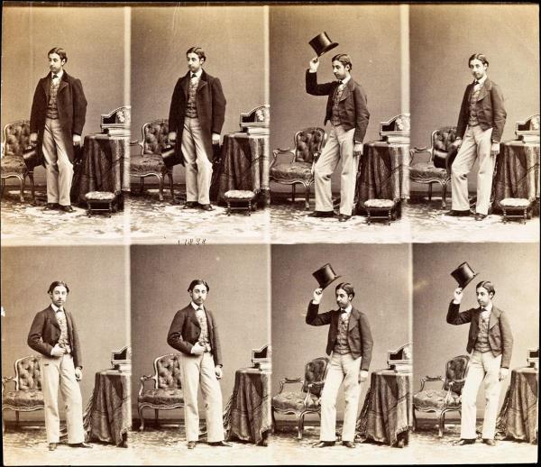 [Jove amb un barret de copa] Carte de visite d'André-Adolphe-Eugène Disdéri sense retallar de l'Instituto del Patrimonio Cultural de España. Font: Europeana