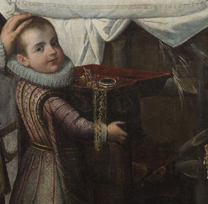 Juan de Roelas, Adoración de Cristo con la família Ayala, hacia 1602. Detalle de las joyas que caen del cofre