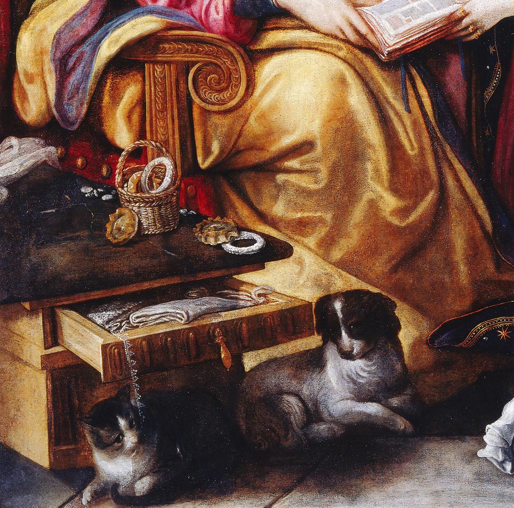 Juan de Roelas, Santa Anna ensenya a llegir la Verge, entre 1610-1615. Museo de Bellas Artes de Sevilla. Detall de la punta de coixí que cau del calaix.