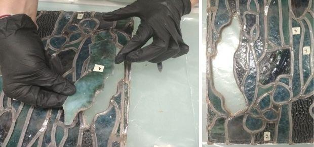 Process of extracting a fragment of broken glass (central panel without transmitted light).