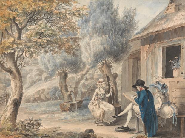 L'artista dibuixant a Mlle de Saint Legiere com a pastora, James Moore, 1787. ©Yale Center for British Art, Paul Mellon Fund