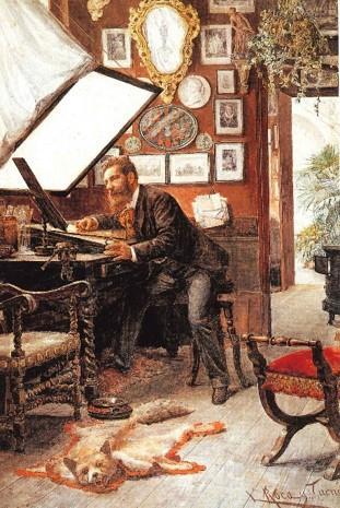 Leopold Roca, Retrat de Joaquim Furnó al seu estudi, 1885. Museu Nacional d'Art de Catalunya