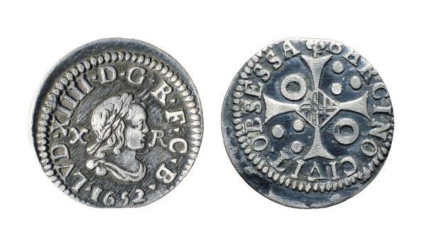 Lluis XIV. 10 rales de Barcelona, 1652, plata