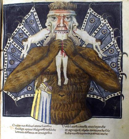 Llucifer. Anònim, segle XIV. Divina Comèdia, Còdex Altonensis, Hamburg