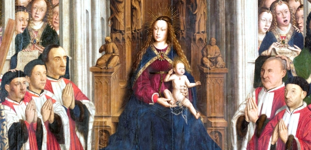 "Lluís Dalmau,  Virgin of the ""Consellers"", 1443-1445 (MNAC 15938). Detail."