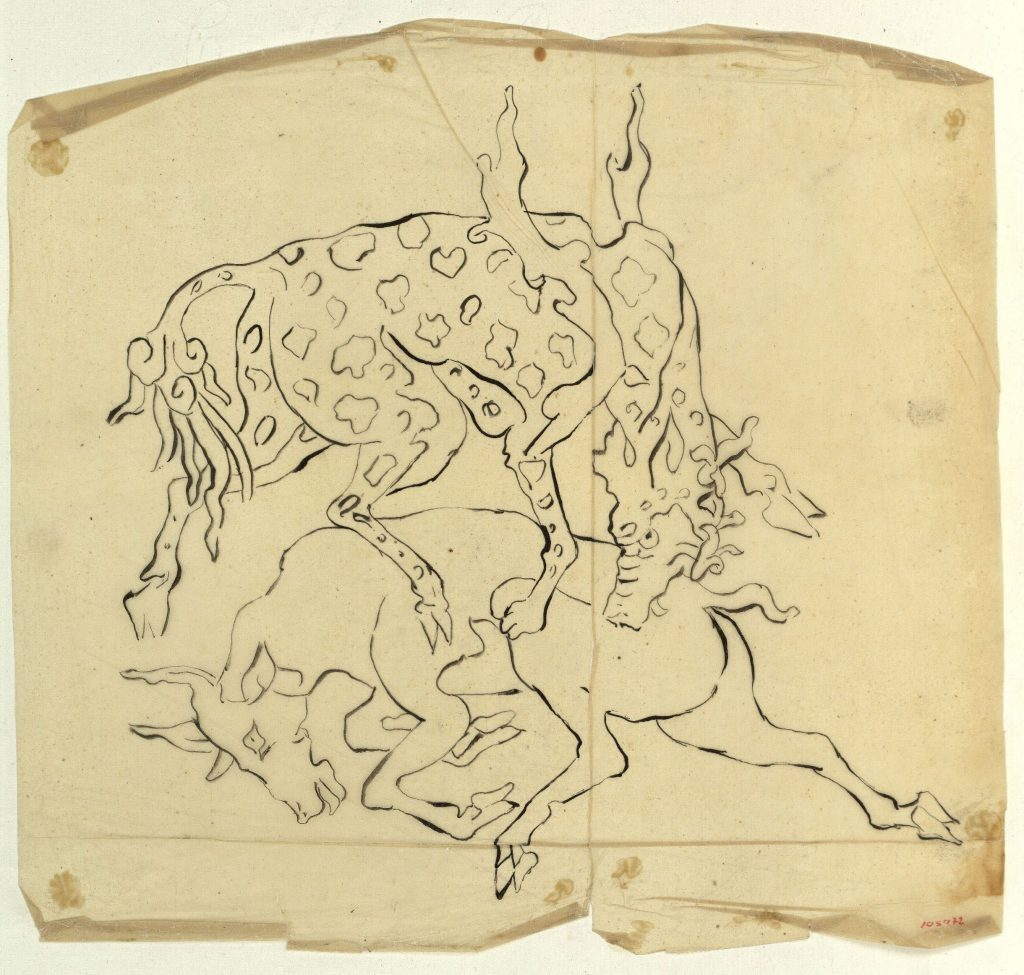 Marià Fortuny, Calc de cérvols lluitant, Calco de ciervos luchando, Tracing of stags fighting