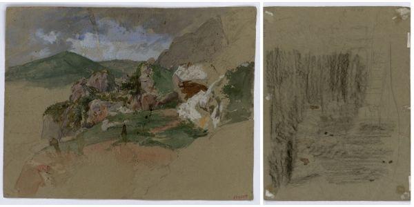 Marià Fortuny, Paisatge rocós (anvers)/ Croquis inconcret (revers), cap a 1860-1862