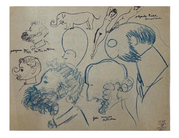 Picasso. Retratos de Joaquim Mir, Joan Gay y Alexandre Riera. París, 1905. Colección particular