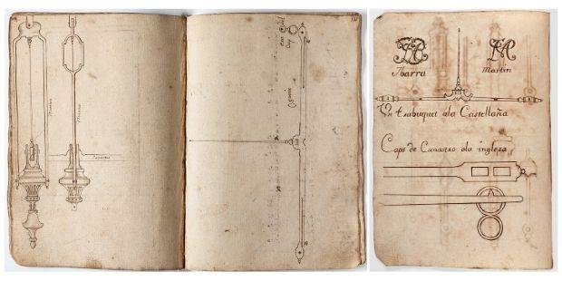 Modelos de balanzas de pesar moneda. Práctica manuscrita del cerrajero Josep Farriols, Barcelona, 1779. Donación de Nuria y Eulàlia Tarradell y Font