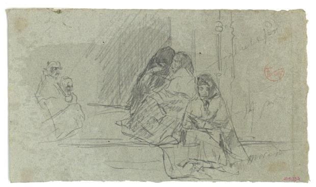 Marià Fortuny, Mujeres sentadas en la entrada de una iglesia, hacia 1867-1872