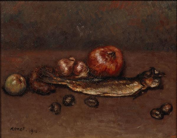 Isidre Nonell. Natura morta amb cebes i arengada, 1910