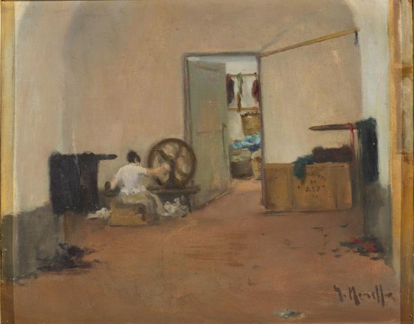 Isidre Nonell, Interior con hiladora, hacia 1892. Depósito de la Generalitat de Catalunya, Colección Nacional de Arte, 2020. Museu Nacional d'Art de Catalunya.