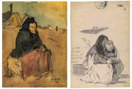 """Isidre Nonell. Figure to Somorrostro, 1898. Private collection: and Francisco de Goya. """"Estos creen en los buelos de las abes"""", Album C 33, 1814-1823, Museo Nacional del Prado, Madrid. Public Domain, CC"""