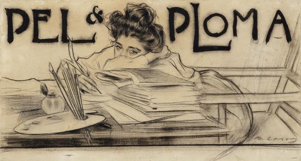 Ramon Casas. Capçalera de revista Pèl & Ploma. 1899.