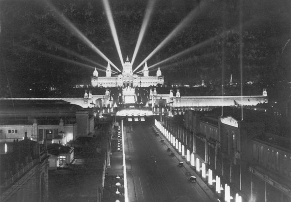 The Palau Nacional at night on the occasion of the Barcelona International Exposition, in 1929