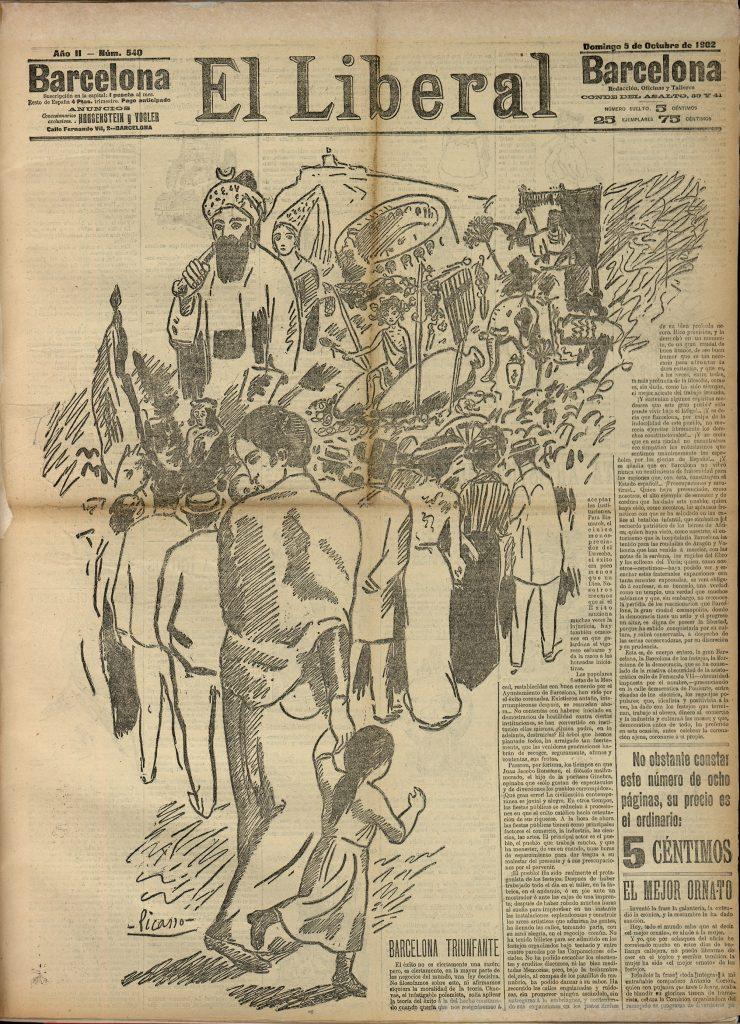 Picasso. I·lustració de les Festes de la Mercè de l'any 1902 reproduït a la portada del diari El Liberal, 5 d'octubre del 1902. Arxiu Històric Ciutat de Barcelona (AHCB)