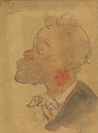 Picasso. Joaquim Mir, de perfil. Cap al 1900. Fou subhastat a Sotheby's l'any 2012