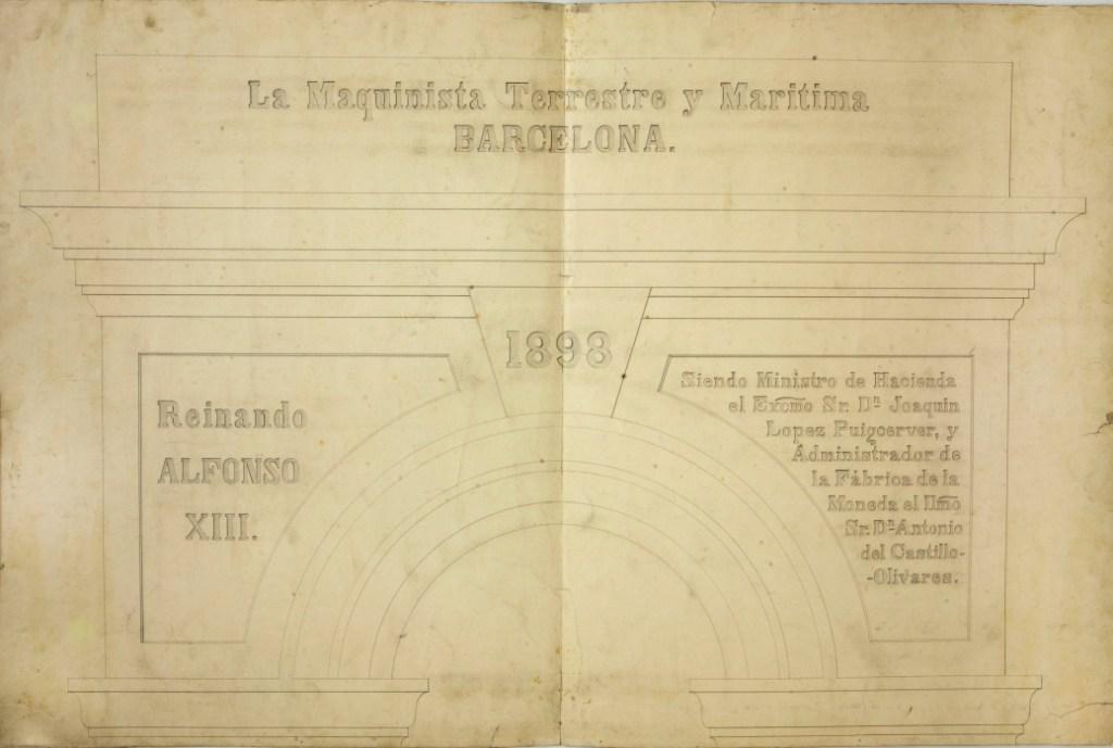 Plano de arco de una prensa Thonnelier de La Maquinista Terrestre y Marítima (1898). Foto: Museu Nacional d'Art de Catalunya (Jordi Calveras)