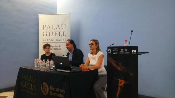 From right to left: Carmen Perella, Director of the Palau Güell, Pepe Serra, director of the Museu Nacional, Mireia Mestre, Head of Restorationg of the Museu Nacional