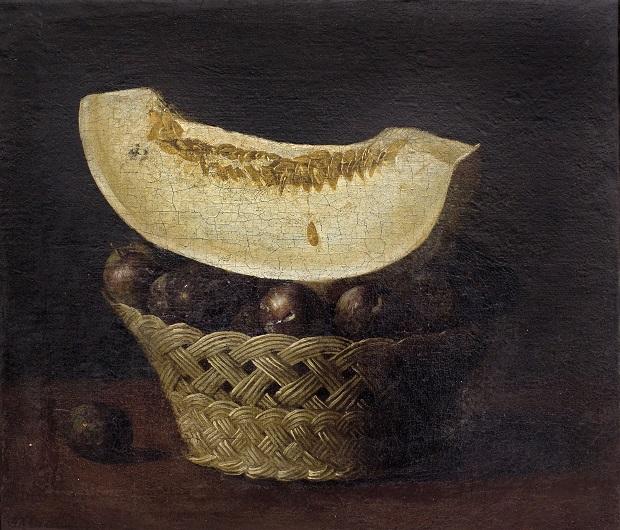 Francisco de Zurbarán, Bodegón con cestita de ciruelas y tajada de melón.