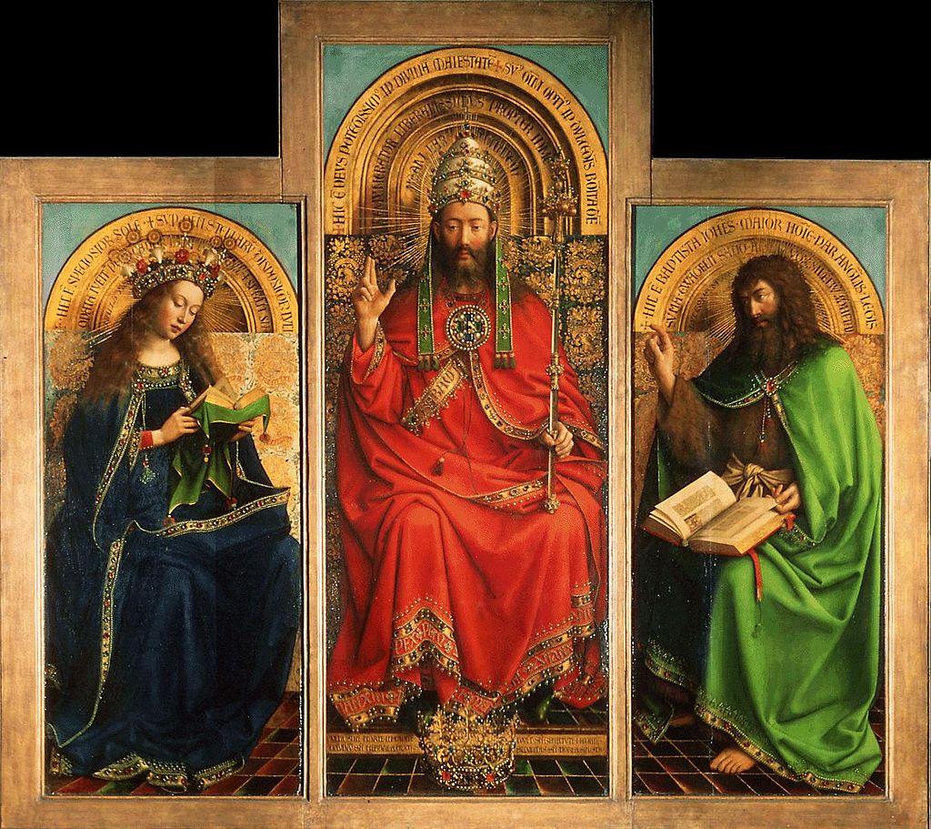 Hubert y Jan van Eyck, Retablo del cordero místico (detalle), 1432. Catedrale Saint-Bavon, Gante